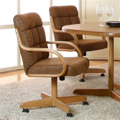 Cramco Atwood Microsuede Caster Dining Arm Chair   Oak