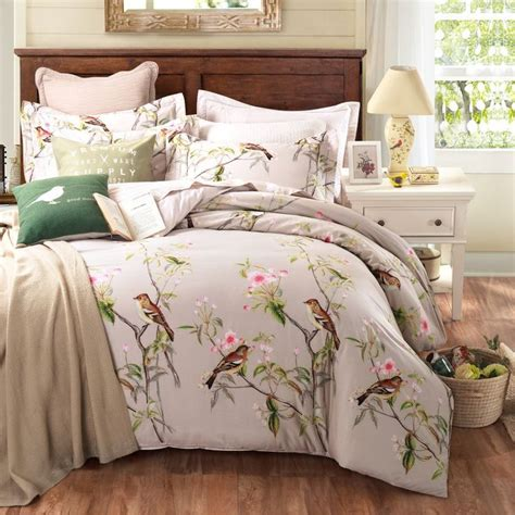 bird bedding pastoral style 100 cotton bedding sets queen king size bed linen floral plant birds