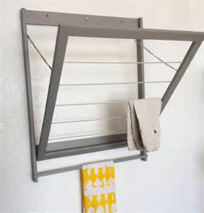 Wall Mounted Clothes Dryer Rack Modern Laundry Drying Rack With Towel Bar Clothes By Wiredwood