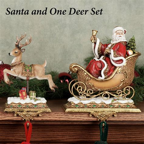 santa with reindeer stocking holders