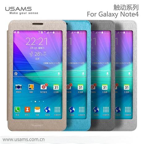 Samsung Galaxy Note4 N9100 Usams Touch Flip Cover View Clear usams samsung galaxy note 4 cover flip stand luxury pu leather with big window app sleep