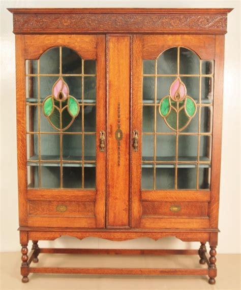 Oak Bookcase With Glass Doors Oak Bookcase With Leaded Light Glass Doors 305902 Sellingantiques Co Uk