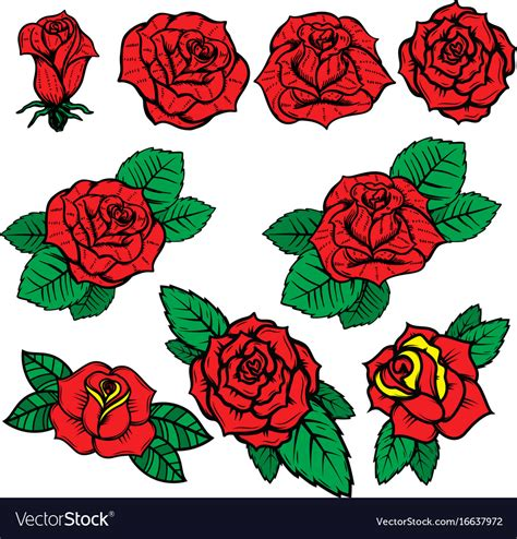 old style rose tattoo set of school style roses isolated on vector image