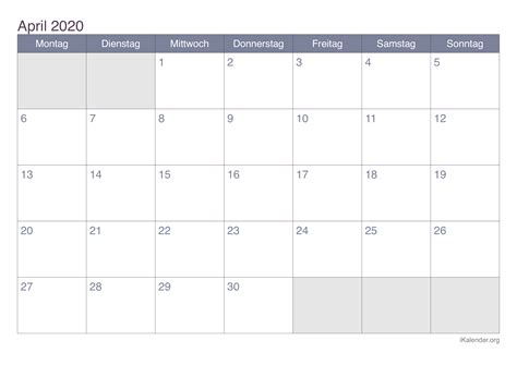 kalender april  zum ausdrucken ikalenderorg