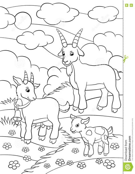 farm goat coloring page coloring pages farm animals goat family stock vector
