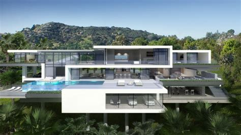 two modern mansions on sunset plaza drive in la