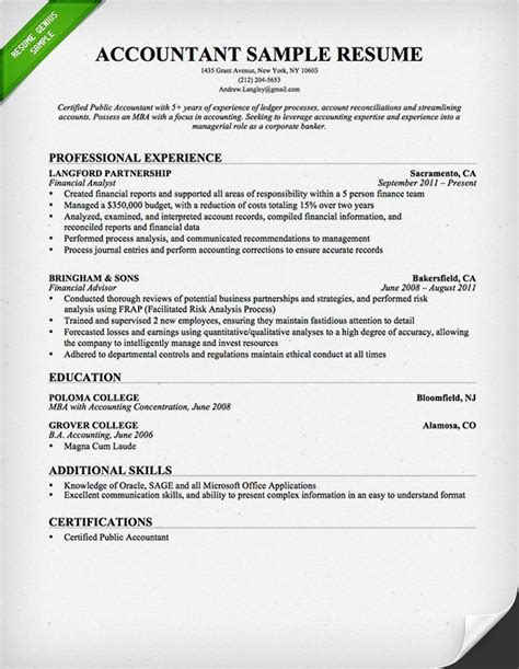 accounting resume template accountant resume sle and tips resume genius