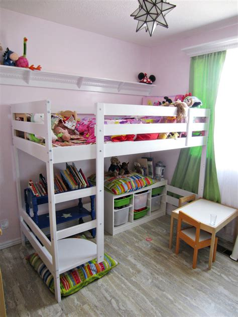 Bunk Beds With Storage Ikea Hacked Ikea Loft Bed With Storage In Pink Room Decoist