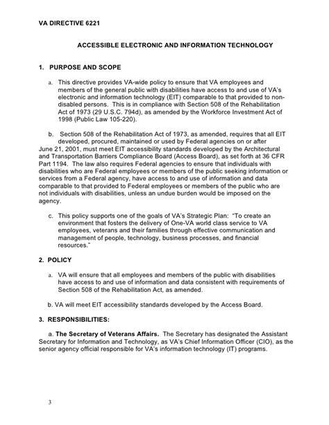 va section 508 department of veterans affairs va directive 6221
