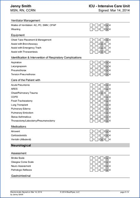 registered skills list template
