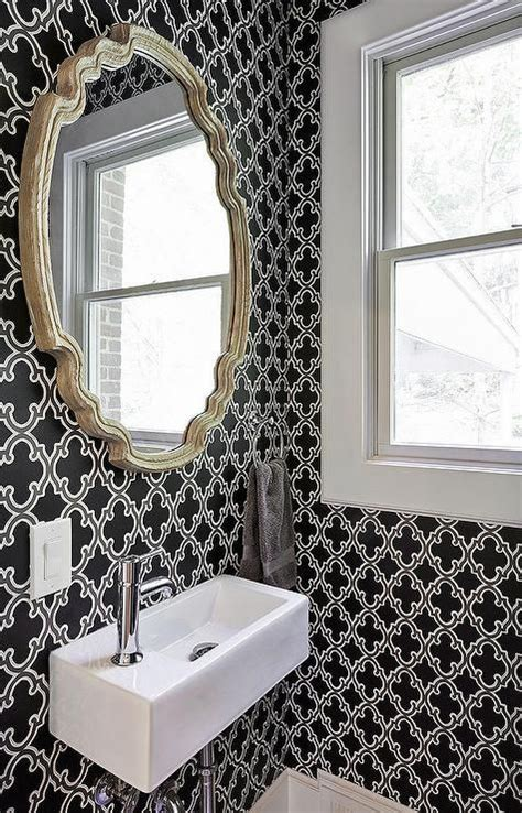 bathroom wallpapers housetohome co uk powder room with black and white moroccan wallpaper