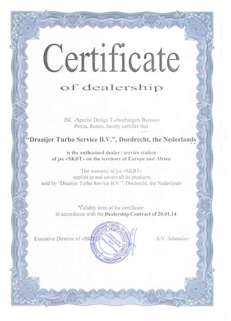 official certificate template draaijer turbo service bv home
