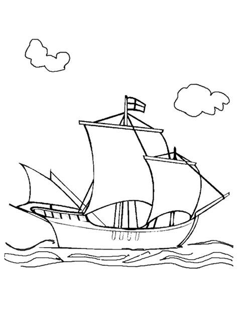 Coloriage d'un Bateau à Trois Mats voguant sur la mer