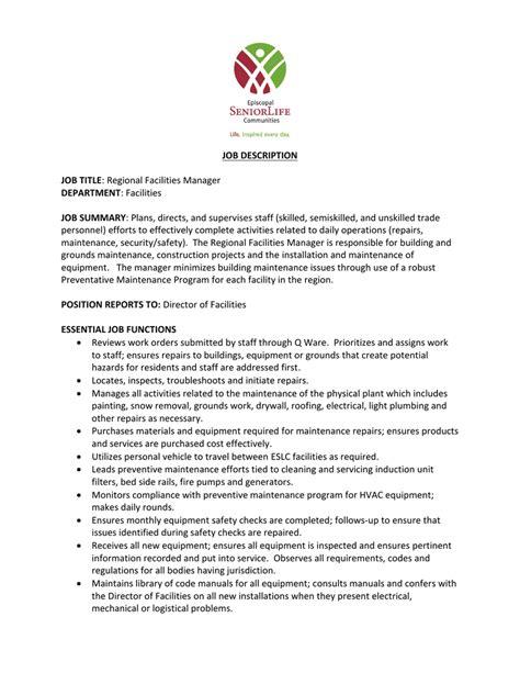 job description job title regional facilities manager
