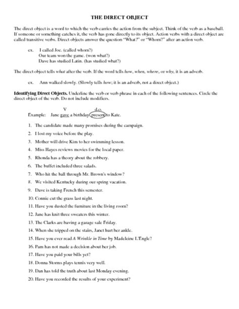 Direct And Indirect Object Pronouns Printable Worksheet