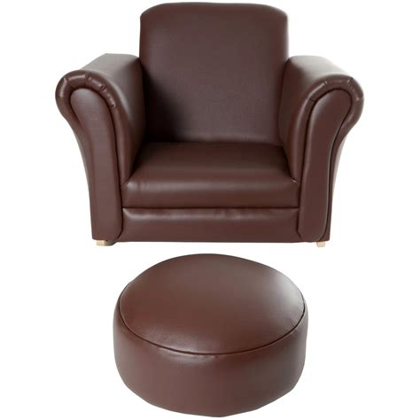childrens brown leather sofa pu leather look armchair sofa chair seat footstool