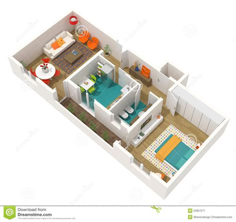 contemporary interior design 3d home project stock image