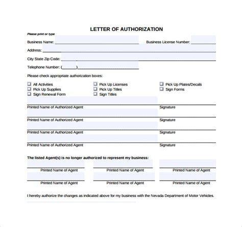 Authorization Letter Request Document Sle Letter Of Authorization Form Exle 8 Free Documents In Pdf Word