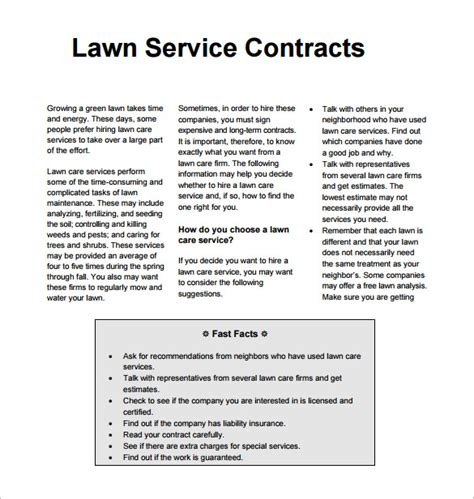 lawn care contract printable templates joy studio design
