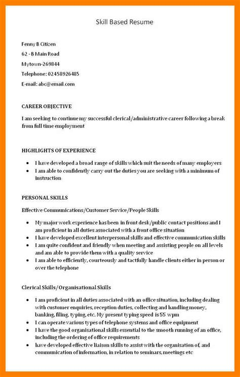 sle of skills based resume resume template skills based 28 images skills based