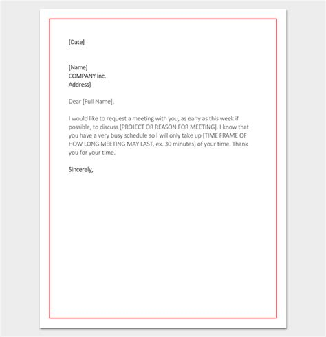 Request Letter Venue meeting appointment letter 9 templates for word pdf format