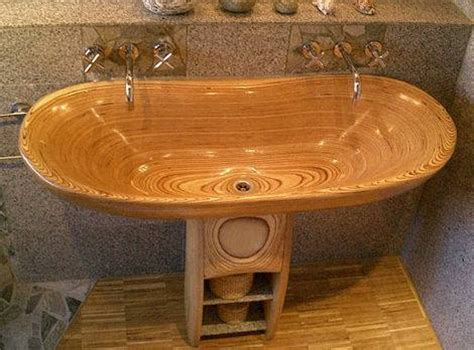 vasca bagno legno lavabo in legno
