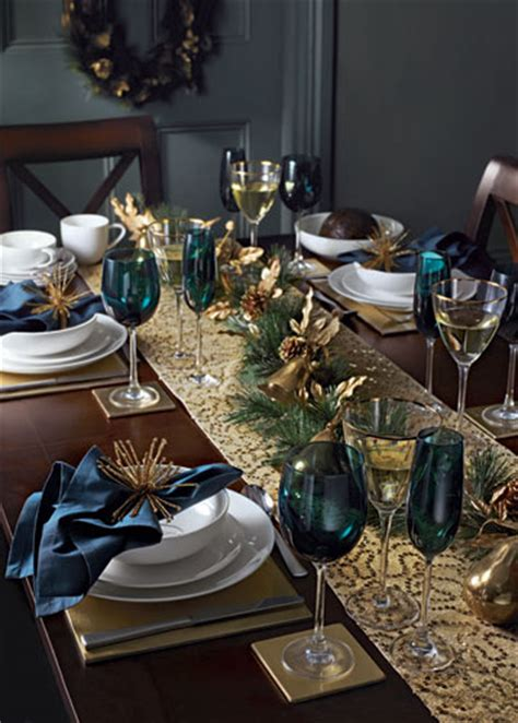 christmas table decorations blue and gold life and