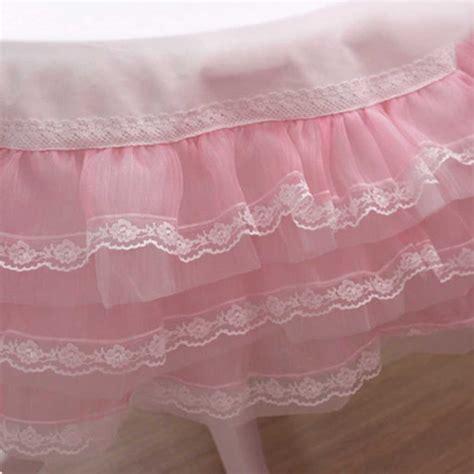 Pink Organza Ruffle Lace Tablecloth 2' x 2'   Custom Made