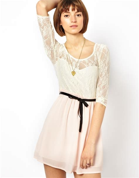 Lvzd Dress Vivo Pink lyst wal g sleeve lace dress with belt in pink