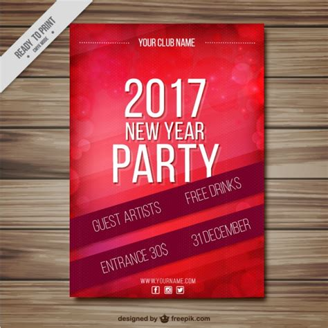 Ad Template 2017 Red New Year Party Flyer Template 2017 Vector Free Download