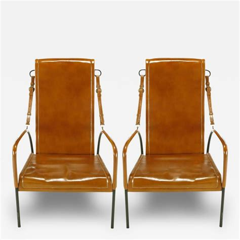 Wrought Iron Lounge Chairs by Pair Of Custom Leather And Wrought Iron Lounge Chairs