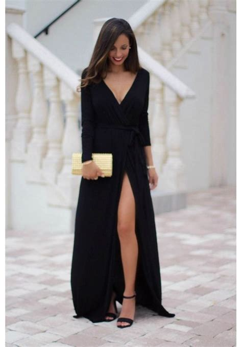 Bridesmaid Dresses With Slits Up The Leg - black maxi dress with sleeves and leg slit farrah