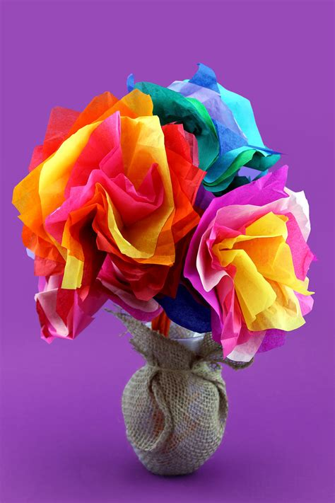 Paper Flower Crafts For - s day tissue paper flower craft nickelodeon