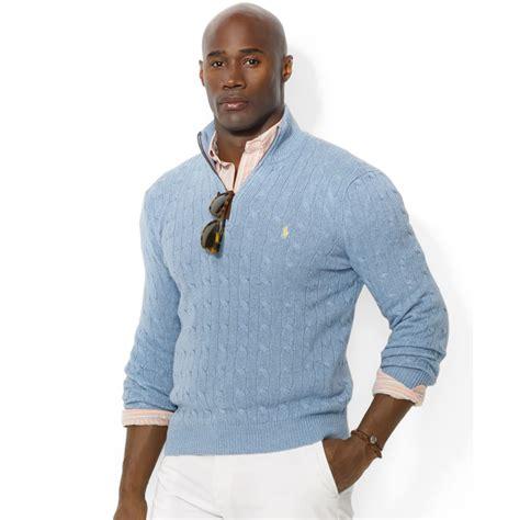 light blue sweater mens lyst ralph half zip cable knit tussah silk