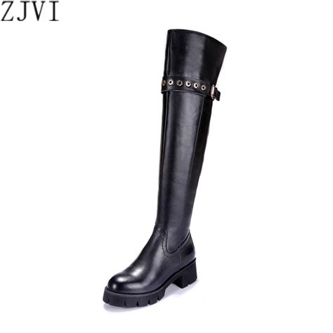 zjvi genuine leather black thigh high boots