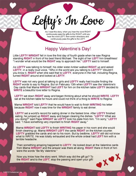 printable valentine games for church lefty s in love left right pass the gift game quot be