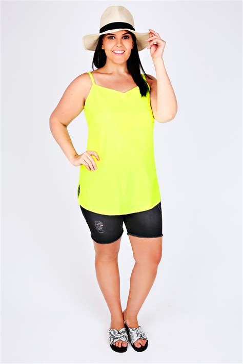 Idw081 Yellow Size 14 5 neon yellow lightweight cami vest top with v neckline plus