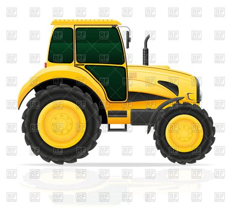 yellow side yellow tractor on white side view royalty free vector