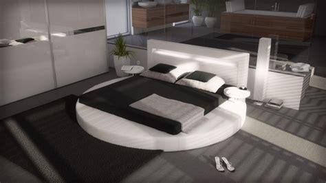 etagere uster lit rond design 160x200 en simili blanc avec 233 clairage