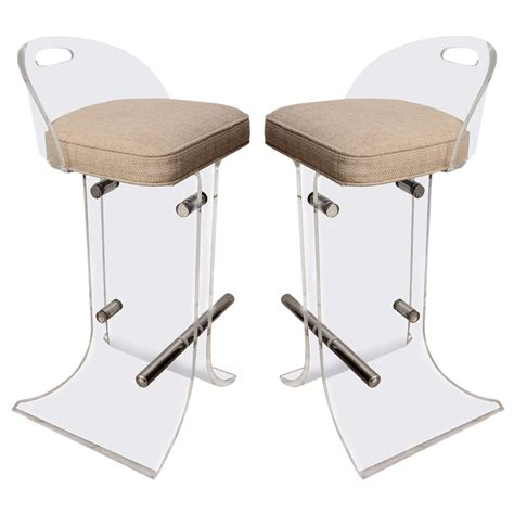 lucite counter chairs pair of lucite bar stools at 1stdibs