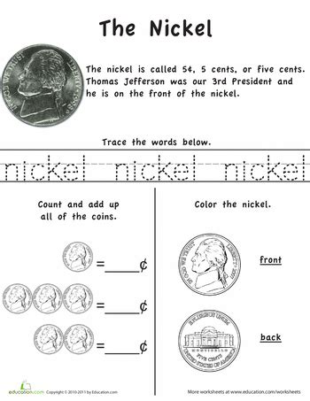 kindergarten activities coins learn the coins the nickel worksheets coins and learning