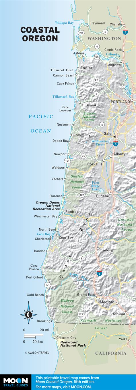 map of oregon coast cities travel maps of oregon moon travel guides