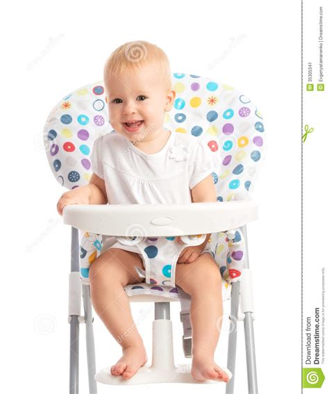 Baby In Chair by Baby Sitting In A High Chair Isolated Stock Image Image
