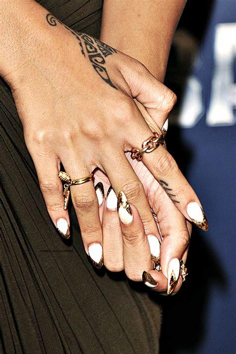 Nail Design Tips Home rihanna white and gold stiletto nails nail centric