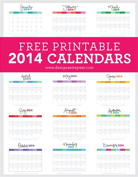 free 2014 colorful calendar with holidays html autos weblog