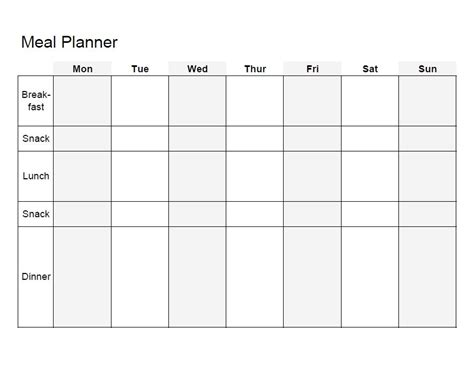 blank meal planner templates meal planning template doliquid