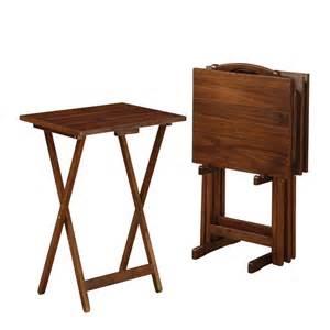 Folding Tray Table Set Acacia Folding Tv Tray Tables Set Of 4 Ebay