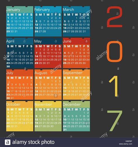 colors of 2017 calendar 2017 with colors of seasons on a dark grey
