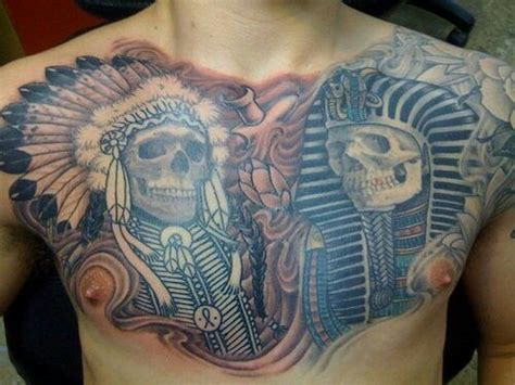 chest tattoo native american native american egyptian chest piece color and skulls