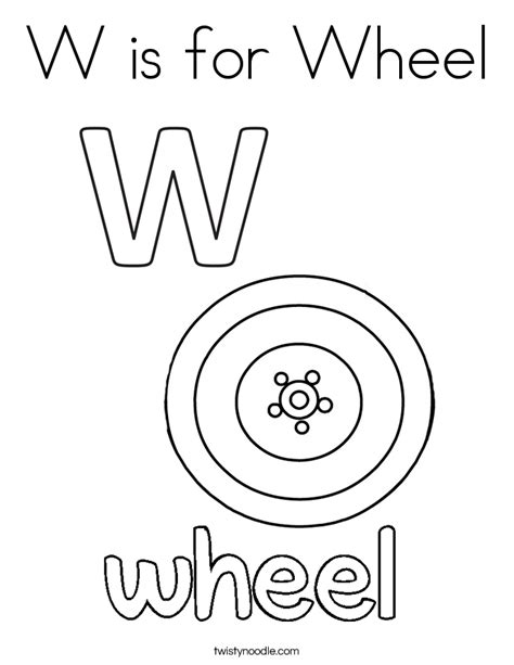 color w w is for wheel coloring page twisty noodle